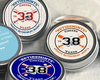 12 Retirement Mint Tins -  - RetireMints - Baseball - Retirement Favors - Retirement Decor - Retirement Mints - Retired Mints
