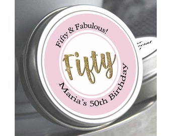 50th Birthday Mint Tin Party Favors