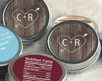 Wedding Favors- 70 Personalized Wedding Mint Tins - Wedding Favor Containers - Carved Initials Favors - Initials and Heart - Rustic Favors