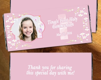 First Communion Chocolate Wrappers - Holy communion candy wrapper, Pink Communion Wrappers, Girls Communion, First Communion (Set of 12)