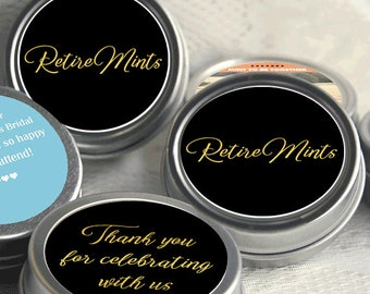 12 Retirement Mint Tins - RetireMints - Black & Gold - Retirement Favors - Retirement Mints - Retired Mints - Ladies Retirement