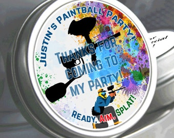 Personalized Paintball Party Favors - Paintball Mint Tins - Personalized Mint Tins - Birthday Mint Tins - Paintball Themed Candy Favors
