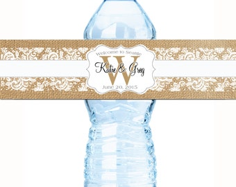 30 Wedding Water Bottle Labels - Wedding Bottled Water Labels - Water Bottle Wraps - Rustic Water Labels - Burlap and Lace Monogram