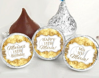 108 Birthday Hershey Kiss® Stickers - Birthday Hershey Kiss Stickers- Gold Birthday Kiss Labels - Hershey Kiss Seals - Candy Stickers