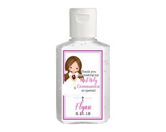 Purell hand sanitizer labels 2 oz. size bottle -  First Holy Communion, Girls Holy Communion, Communion Favors, Hand Sanitizer Labels