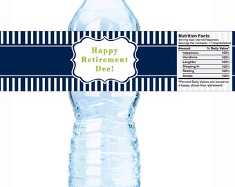 Personalized Retirement Water Bottle Labels - Retirement Water Labels - Retirement Bottle Labels - Retirement Party ideas - Striped Labels
