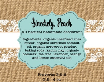 """Sincerely, Peach Deodorant  Labels - Private Listing - 2"""" Square Labels"""