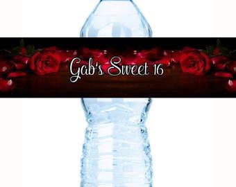 Sweet 16 Water Bottle Labels - Sweet 16 Decor - Sweet 16 Party Favors - Sweet 16 Bottle Labels - Red Roses - Sweet 16 Decor