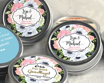 12 Personalized Wedding Mint Tins, Rose Floral Wedding Favor, Personalized Favor, Rose Floral Mint Tins, Mint Tin Favors, Candy Favors