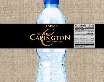 30 Anniversary Water Bottle Labels - Anniversary Decor - Anniversary Favors -50th Anniversary - Anniversary Party Ideas - Golden Anniversary
