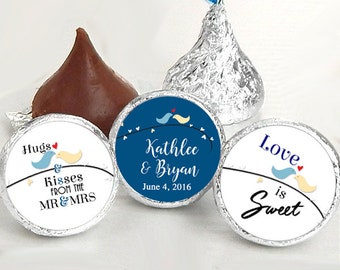 108 Hershey Kiss® Stickers - Doves Kiss Seals - Candy Labels - Wedding Favors - Hershey® Kiss Seals  - Hugs and Kisses - Love is Sweet