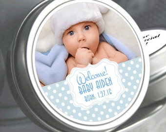 "12 Personalized Sweet Dots Baby Shower Photo Mint Tins  - Click on the ""Pricing & Quantity"" tab to select exactly what you need."