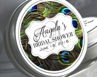 Custom Bridal Shower Favor Mint Tins - 72 Peacock Theme Wedding Decor - Personalized Tin Mints - Wedding Mint Tins - Bridal Shower Mint Tins