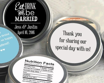12 Personalized Mint Favor, Eat Drink and Be Married Wedding Favor, Personalized Favor, Mint Tin Favors, Candy Favors - Set of 12