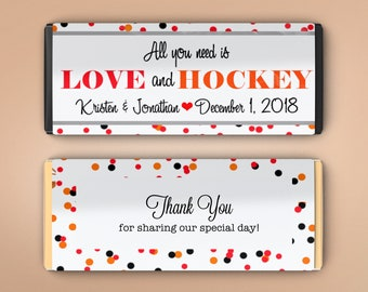 Love and Hockey Candy Bar Wrappers for Hershey's Chocolates | Hockey Themed Candy Bar Label | Personalized Candy Bar Label (Set of 12)