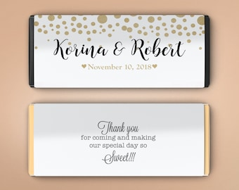 12 Large Personalized Hershey Candy Bar Wrappers - Bridal Shower Favor  -  Wedding Favor Decor - Wedding Decor - Gold Dots