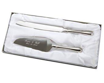 Personalized Server Set - Wedding Server Set  - Westwood Cake Knife and Server Set - Silver Server Set - Engraved Wedding Server Set