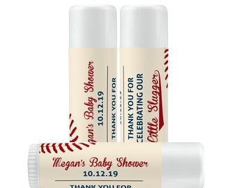 Lip Balm Labels - Personalized Lip Balm Labels - Baby Shower Lip Balm labels - 1 Sheet of 12 Lip Balm Labels - Baseball Lip Balm Labels