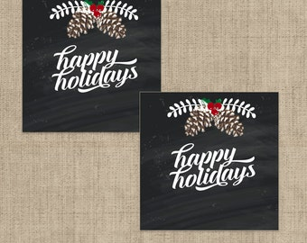"""Printable 1.75"""" Square Christmas Holiday Tags or Labels Rustic Chalkboard Wreath and Pine Cones Digital Stickers Any Custom Text"""