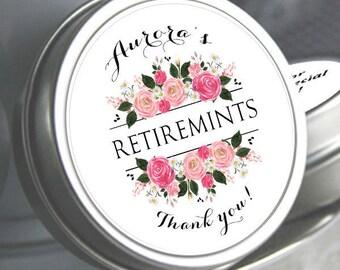 100 Retirement Mint Tins - RetireMints - Floral - Retirement Favor - Retirement Decor - Retirement Mints - Retired Mints - Ladies Retirement