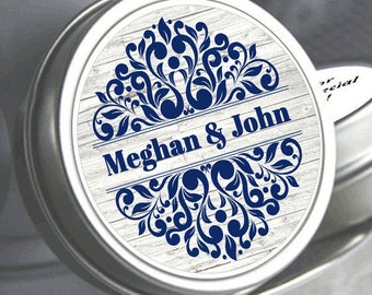"12 Personalized Ribbon Damask Color Coordinated Mint Tin Favors  - Select the quantity you need below in the ""Pricing & Quantity"" option tab"