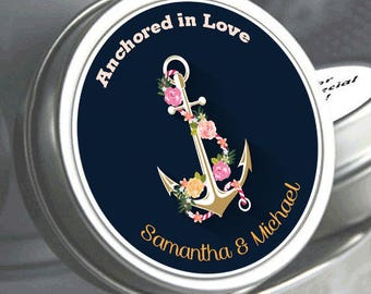 12 Wedding Mint Tin Favors - Anchor Wedding Favors - Anchor Decorations - Anchor Wedding Mementos - Anchor Wedding Mints - Anchored in Love