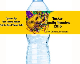 Family Reunion Water Bottle Labels, Family Reunion Favors,Reunion Favors, Family Tree, Reunion Decor, Reunion Party Favors, Mardi Gras