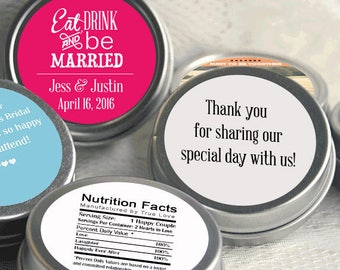 100 Personalized Mint Favor, Eat Drink and Be Married Wedding Favor, Personalized Wedding Mint Tins, Eat Drink and Be married - Set of 100