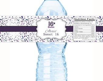 Colorful Purple Dots Sweet 16 Birthday Water Bottle Labels - Sweet 16 Water Bottle labels - Sweet 16 Labels - Birthday Water Bottle Labels