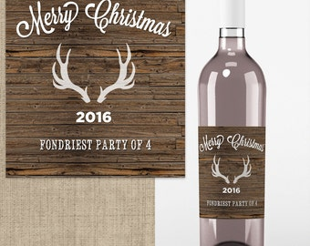 4 Wedding Wine Labels - Custom Wedding Wine Labels - Deer Antlers - Thank You  - Rustic Wine labels - Country Wine Labels - Christmas