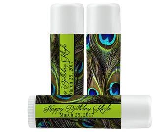 Lip Balm Labels - Personalized Lip Balm Labels - Birthday Lip Balm labels - 1 Sheet of 12 Lip Balm Labels - Custom Lip Balm Labels - Peacock