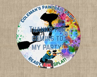 Personalized Paintball Stickers Printable Download - Paintball Party Favors - Paintball Digital Download
