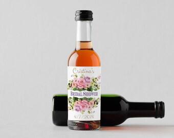 Personalized Pink Roses Mini Wine Bottle Labels  - Thank You Labels - Miniature Wine Labels - Bridal Shower - Wedding   - Set of 10
