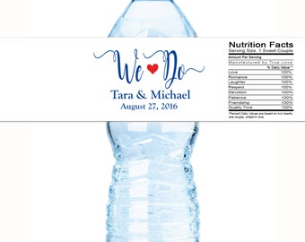 30 Wedding Water Bottle Labels, Personalized Water Bottle Labels, Waterproof Label, Bridal Shower Labels, Welcome Bags, We Do Wedding Labels