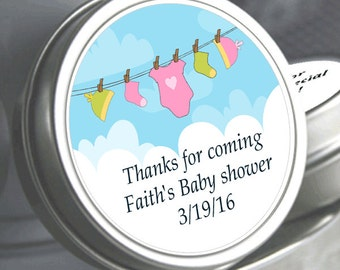 "12 Pink and Green Clothesline Baby Shower Mint Tins - Select the quantity you need below in the ""Pricing & Quantity"" option tab"