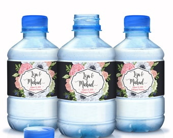 Wedding Water Bottle Labels -  Wedding Water Labels - Custom Water Bottle Labels - Rose Floral Wedding Favors - 30 Waterproof Bottle Labels