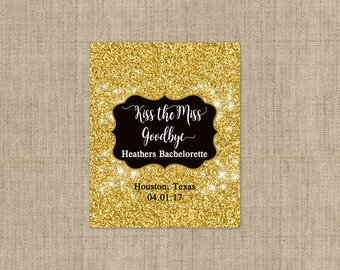 Personalized Lip Balm Labels - Gold Glitter Bachelorette Party labels -  1 Sheet of 12 Lip Balm Labels - Kiss the Miss Goodbye Labels