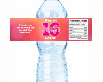 Simply Beautiful Sweet 16 Birthday Water Bottle Labels - Sweet 16 Decor, Sweet 16 Decorations, Sweet 16 Bottle Labels, Sweet 16 bottle wraps