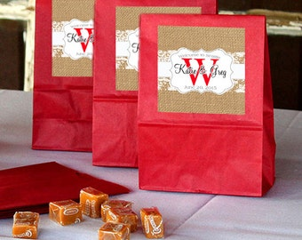 20 Burlap and Lace Monogram Wedding Welcome Bag Labels, custom stickers for hotel hospitality bags, out of town guests welcome bags