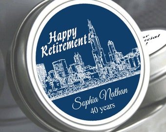 Personalized Cityscapes Retirement Mint Tin Favors  - Retirement Favors - Retirement Mint Favors - RetireMints - Retirement Party Supplies