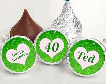 108 Personalized Hershey Kiss® Stickers, Green Glitter, Birthday, Wedding, Sorority, Kiss Labels, Wedding Favors, Glitter Stickers