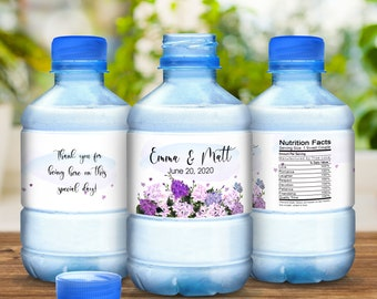 Purple Pink Bouquet Wedding Bottle Labels, Waterproof Wedding Stickers, Floral Stickers, Waterproof Bottle Wraps, Bottled Water Labels