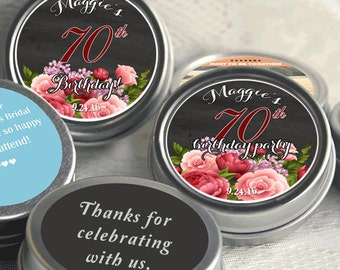 Birthday Mint Tin Party Favors - Birthday Party Supplies -Birthday Party Decor - Birthday Favors - Birthday Favor Ideas - Rose