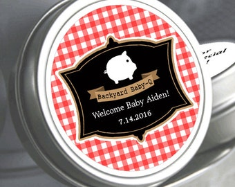 """12 Personalized Red Gingham BBQ Baby Shower Mint Tins - Need a different quantity? Click on the """"choose total"""" tab to see all pricing"""