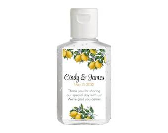 Vintage Botanical Citrus Lemon Hand Sanitizer Labels   Rectangular Labels   Baby Shower  Bridal Shower   Wedding Shower