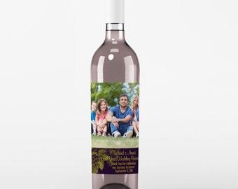Wedding Wine Label - Custom Wine Label - Personalized Wine Label - Wedding Wine Bottle Label - Black and Sliver - Thank You Wine Labels