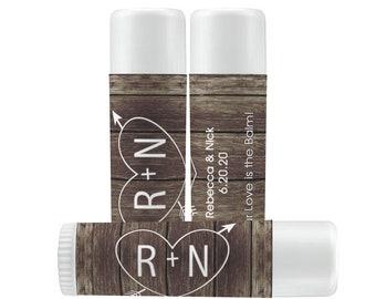 Rustic Chap Stick Labels - Wedding Lip Balm Favor Stickers - Wedding Favors & Labels - Rustic Wedding Chap Stick Labels - Carved Hearts