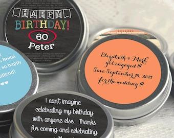 60th Birthday Mint Tin Party Favors - Birthday Party Supplies -Personalized Birthday Party Favors - Birthday Mints - Birthday Favor Ideas