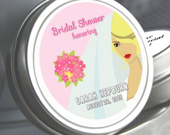 "12 Bridal Veil Mint Tin Bridal Shower Favors - 3 Hair Colors  - Select the quantity you need below in the ""Pricing & Quantity"" option tab"