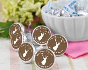 108 The Hunt is Over Hershey Kiss® Stickers -  Hershey Kiss Stickers - Candy Labels - Custom Labels - Wedding Favors - Candy Stickers